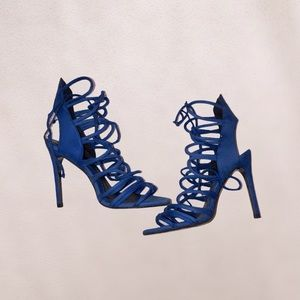 ZARA royal blue strappy heel